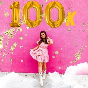 LoveShackFancy Cecile pink puff sleeve dress
